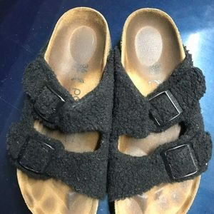 "Black Plush Platform ""Winter"" Birkenstocks Size 36"